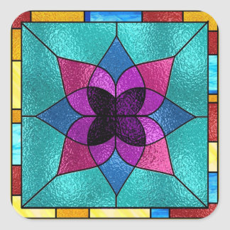 Stained Glass Look Flower Square Sticker