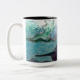 Stained glass look mug with Oregon beach kite boy