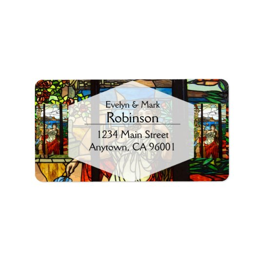Stained glass look with lady sitting. address label