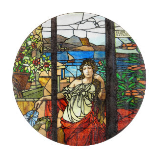 Stained glass look with lady sitting. cutting board