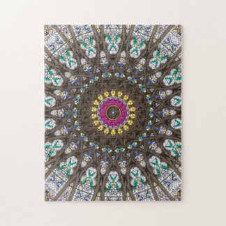 Stained Glass Mandala Kaleidoscope Pattern Jigsaw Puzzle