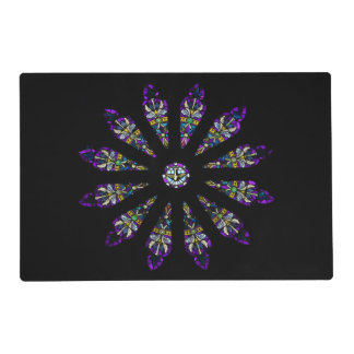 Stained Glass Mandala Laminated Placemat