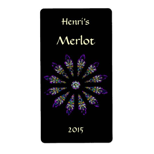Stained Glass Mandala Red Wine Label