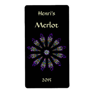 Stained Glass Mandala Red Wine Label Shipping Label