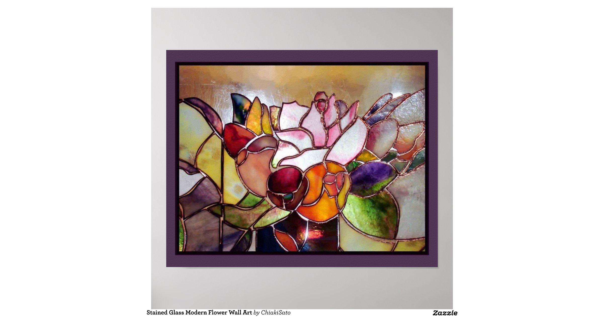 Modern Glass Wall Decor : Stained glass modern flower wall art poster zazzle