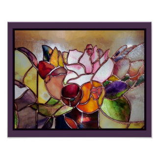 Stained Glass Modern Flower Wall Art Poster