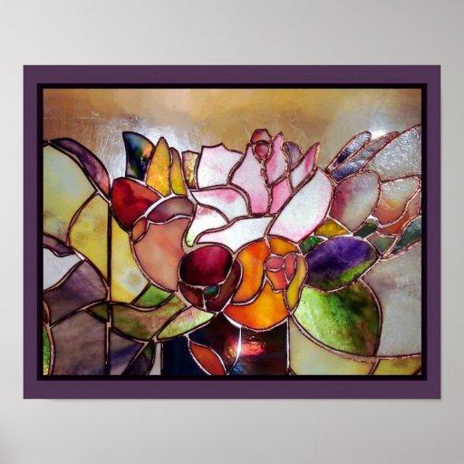 Stained Glass Modern Flower Wall Art Print