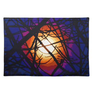 Stained Glass Moon Abstract Placemat