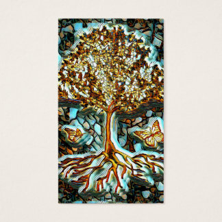 Stained Glass Mosaic Look with Tree of Life Business Card