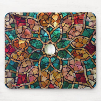 """Stained Glass Mosaic Mousepad """"Autumn Star"""""""