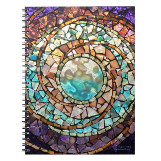 "Stained Glass Mosaic Notebook ""Water Planet"""