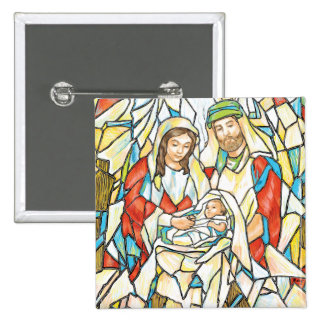 Stained Glass Nativity Painting 15 Cm Square Badge