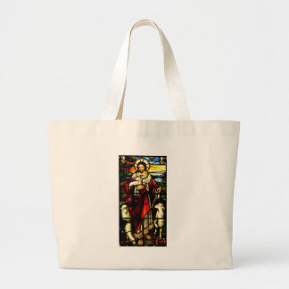 Stained Glass of Jesus The Good Shepherd Large Tote Bag