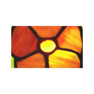 Stained glass orange pansy bright orange yellow stretched canvas print
