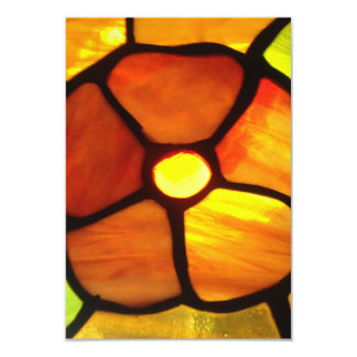 Stained glass orange pansy bright orange yellow invitation cards