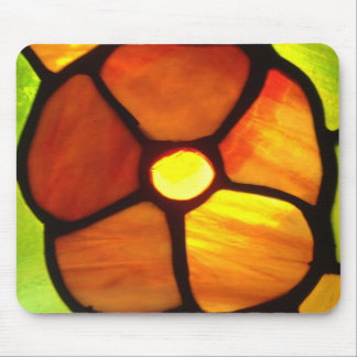Stained glass orange pansy bright orange yellow mouse pads