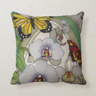 Stained glass orchids and butterflies cushion