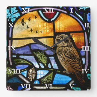 Stained Glass Owl - clock