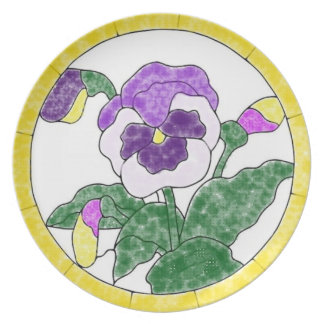 Stained Glass Pansies Plate