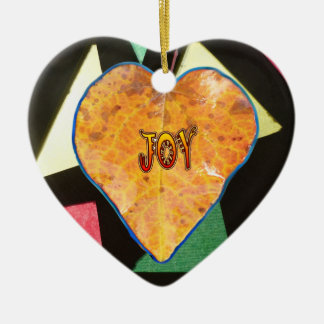 Stained Glass Pattern JOY Leaf Heart Ornament