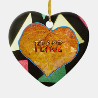 Stained Glass Pattern PEACE Leaf Heart Ornament