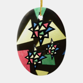Stained Glass Pattern with 3 Stars Oval Ornament