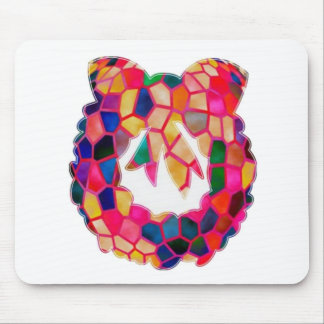 STAINED Glass Pattern Wreath Design Mouse Pad