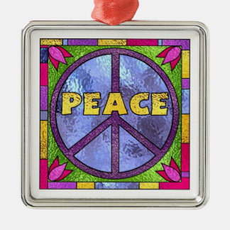 Stained Glass Peace Christmas Ornament
