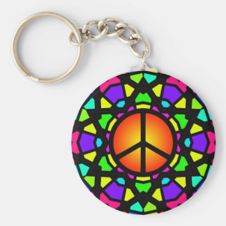 STAINED GLASS PEACE STAR BASIC ROUND BUTTON KEY RING