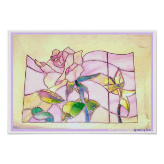 Stained Glass Pink Roses Poster