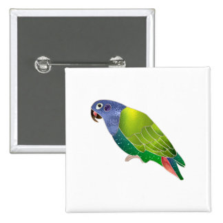Stained Glass Pionus Parrot 15 Cm Square Badge