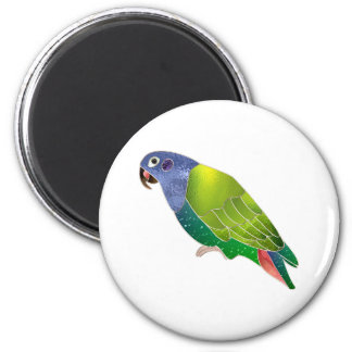 Stained Glass Pionus Parrot 6 Cm Round Magnet
