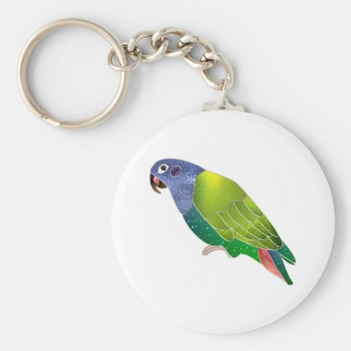 Stained Glass Pionus Parrot Key Chains