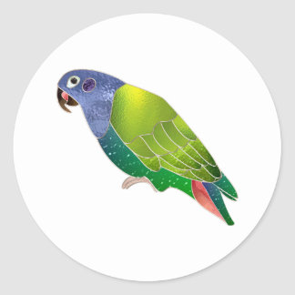 Stained Glass Pionus Parrot Round Sticker