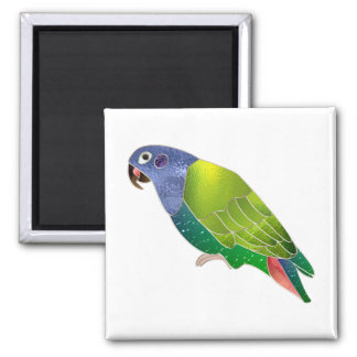 Stained Glass Pionus Parrot Square Magnet