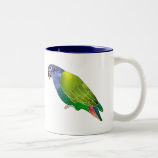 Stained Glass Pionus Parrot Two-Tone Mug