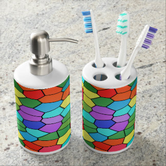 Stained Glass Rainbow 2183 Soap Dispenser And Toothbrush Holder
