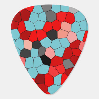 Stained Glass Red Blue Pattern Guitar Pick