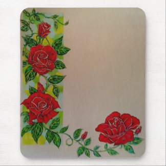 Stained Glass Rose Mouse Mat