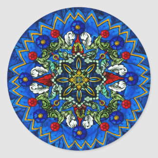 Stained Glass Rose Window Mandala Sticker