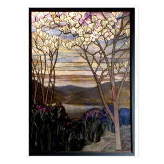 Stained glass scenery postcard