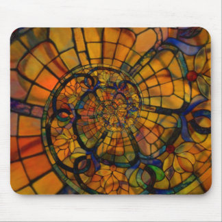 Stained Glass Spiral Mouse Pad