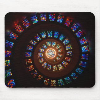 Stained Glass Spiral Window Mouse Mat