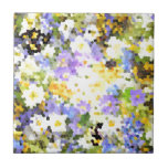Stained Glass Spring Flowers Yellow Violet Green