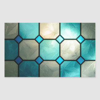 stained glass squares rectangular sticker