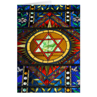 Stained Glass Star of David Greeting Card