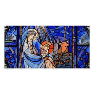 Stained Glass Style Nativity Card