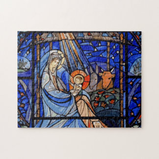 Stained Glass Style Nativity Jigsaw Puzzle