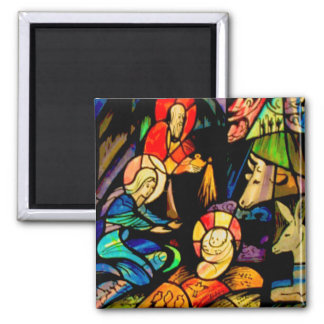 Stained Glass Style Nativity Magnet