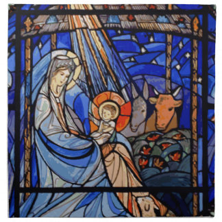 Stained Glass Style Nativity Napkin